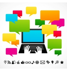 laptop computer with speech bubbles vector image