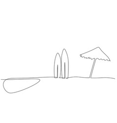 long surfboard standing up in sand beach vector image