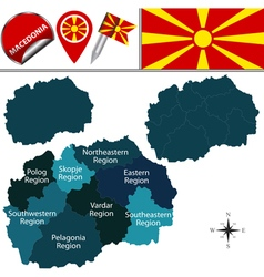 Macedonia map with named divisions vector
