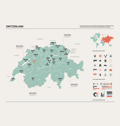 Map switzerland country with division vector