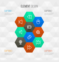 Media outline icons set collection of forward vector