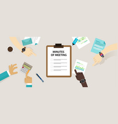 Minutes meeting document paper write pen about vector