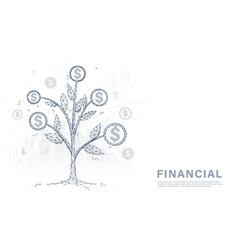 money tree coins and money financial management vector image