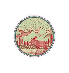 Moose river mountains sun circle retro vector