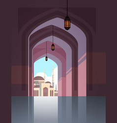 Nabawi mosque building architecture exterior view vector