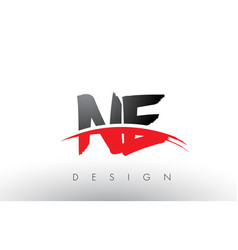 Ne n e brush logo letters with red and black vector