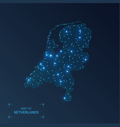 Netherlands map with cities luminous dots - neon vector