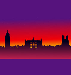 On red background london city building landscape vector