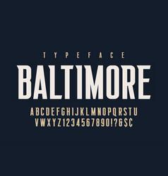 original retro condensed alphabet creative vector image