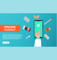 Pharmacist give advice drugs on screen smartphone vector
