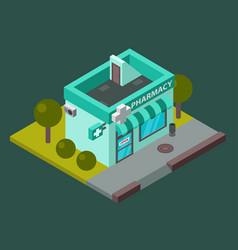Pharmacy isometric building isolated city vector