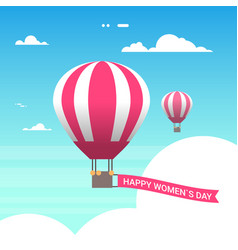 pink air balloon in sky with happy women day vector image