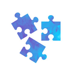 Polygon blue icon puzzle vector