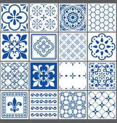 Portuguese tiles pattern lisbon indigo design vector
