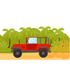 red jeep on sandy road in wild green jungles vector image