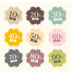 Retro Discount Labels Stains Splashes vector image