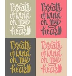 Romantic poster breath of wind vector