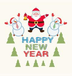 santa claus and snowmen vector image