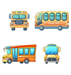 school bus back kids icons set cartoon style vector image