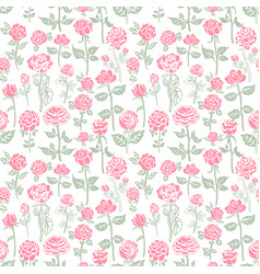 seamless background with gentle color roses vector image