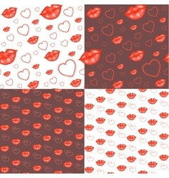 Seamless backgrounds with hearts and lips vector image