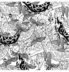 Seamless pattern with black and white dolphins vector