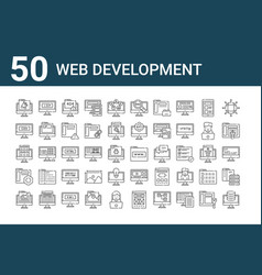 Set 50 web development icons outline thin line vector