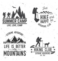 set extreme adventure badges mountains related vector image