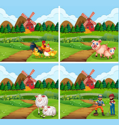 Set farmland with animal and farmer vector