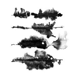 Set four runny ink art brushes vector