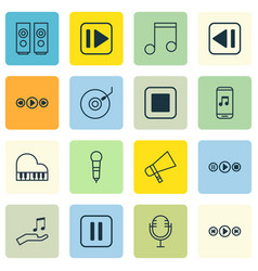 Set of 16 music icons includes octave mike mute vector