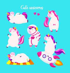 set of funny cartoon magic unicorns patch badge vector image