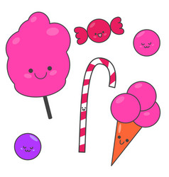 seth funny cartoon candy sweet set sweets vector image