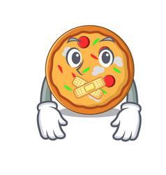 silent pizza mascot cartoon style vector image