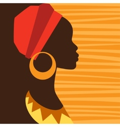 Silhouette of african girl in profile with vector image