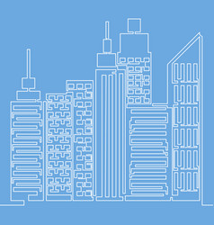 skyscrapers one line simple vector image
