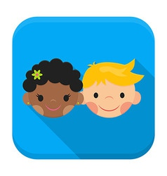 Smiling boy and girl faces app icon with long vector