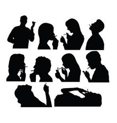 Smoker silhouettes vector