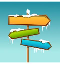 Snowy direction board vector