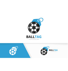 soccer and tag logo combination ball and vector image