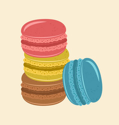 stack macaroons classic french sweets vector image