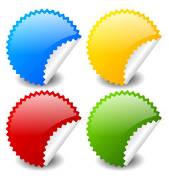 Starburst shapes as stickers in 4 colors blue vector