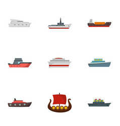 Steamer icons set flat style vector