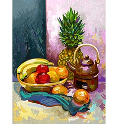 Still life with a banana plum pineapple and tea vector