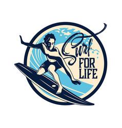 surfing hand drawn emblem vector image