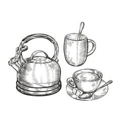 tea concept sketch kitchen utensils vintage vector image