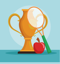 tennis trophy cup vector image