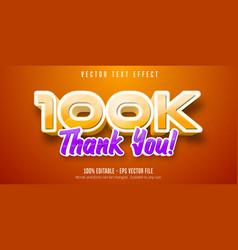 Thank you 100k text editable text effect vector