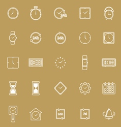 Time line icons on brown background vector