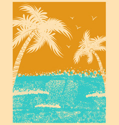 tropical palms background with ocean waves vector image